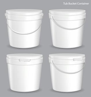 Recipiente plástico del cubo de la pintura blanca de la tina