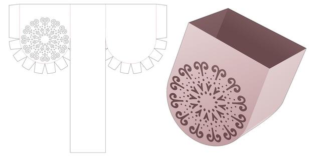 Recipiente redondo inferior con plantilla de mandala y plantilla troquelada con tapa