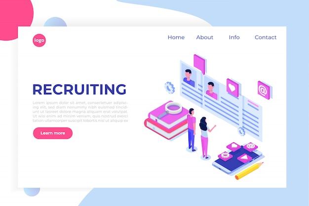 Reclutamiento, búsqueda de empleo concepto isométrico. úselo para presentaciones, redes sociales, tarjetas, banners web. ilustración