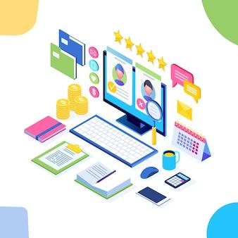 Reclutamiento. computadora isométrica, computadora portátil con currículum vitae. recursos humanos, rrhh. contratación de empleados