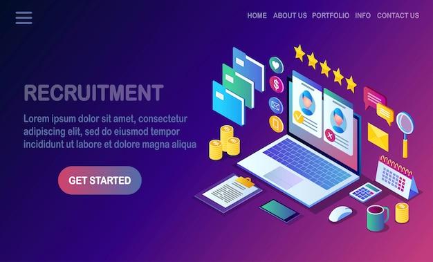 Reclutamiento. computadora isométrica, laptop, pc con currículum vitae. recursos humanos, rrhh. contratación de empleados