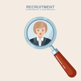 Reclutamiento, contratación de empleados. selección de candidato de negocio con lupa. recursos humanos