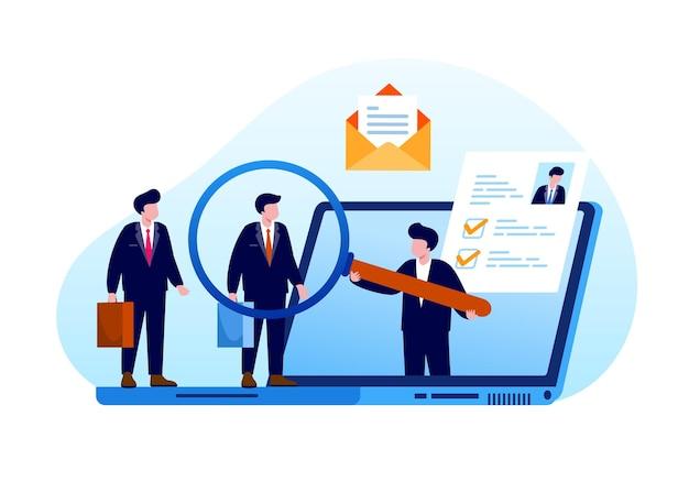 Reclutamiento en línea, concepto de contratación de trabajo, vacante en línea de empleado candidato. ilustración vectorial plana