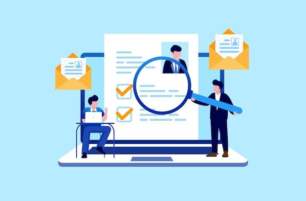 Reclutamiento en línea trabajo contratación concepto candidato empleado vacante en línea ilustración vector plano