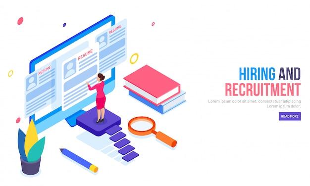Reclutamiento o contratación de página de inicio basada en el concepto.