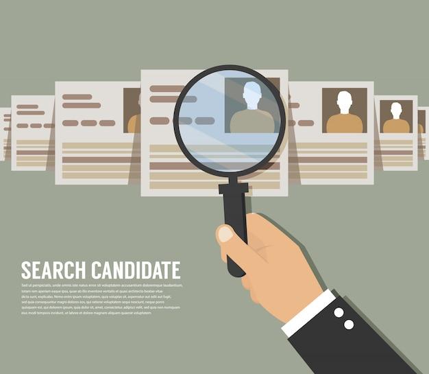 Reclutamiento. zoom de mano lupa recogiendo persona de negocios, grupo de personas candidatas, ilustración vectorial plana