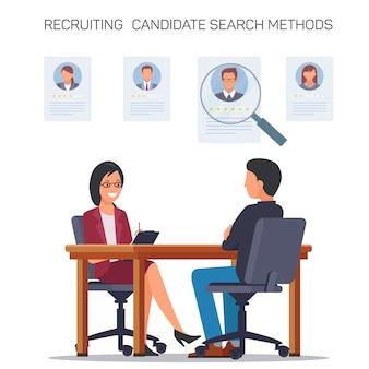 Reclutar los métodos de búsqueda de candidatos. entrevista