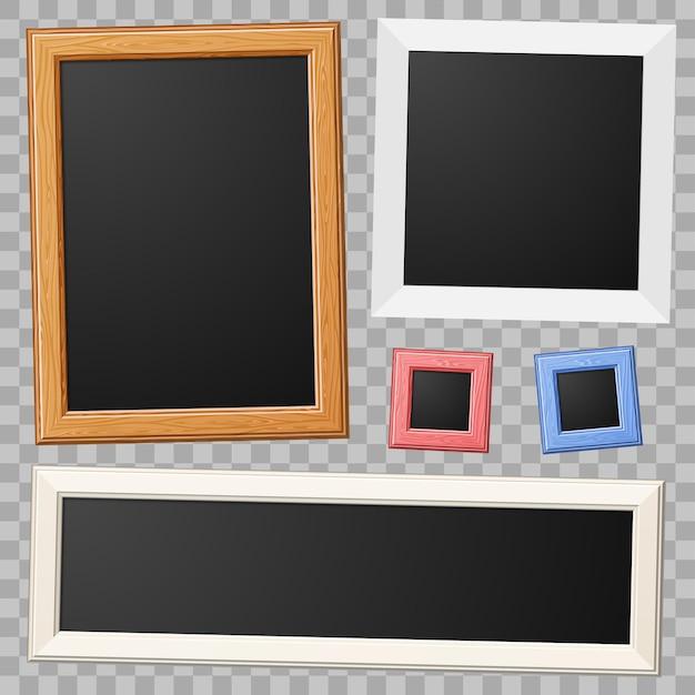 Recoge marcos de madera y papel para fotos.