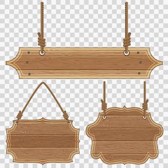 Recoge marcos de tablas de madera con cuerdas y nudos. ilustración de vector aislado sobre fondo transparente