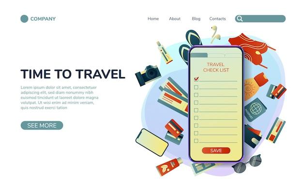 Recoger una maleta en un viaje ropa, documentos, equipo.