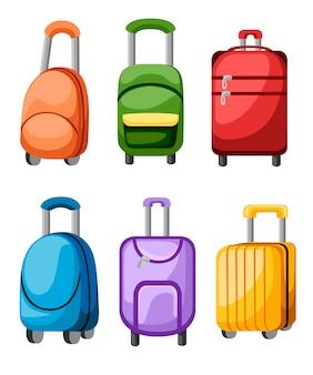 Recogida de maleta y equipaje. bolsa de equipaje de diferentes colores. conjunto de equipaje de viaje. ilustración. sobre fondo blanco