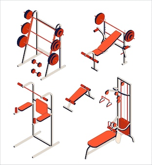 Recogida de material de gimnasio y club de fitness. conjunto isométrico de aparatos de entrenamiento.