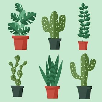 Recogida de plantas del hogar. conjunto de diferentes arboles. ilustracion vectorial diseño plano