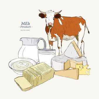 Recogida de productos lácteos. vaca, productos lácteos, queso, mantequilla, crema agria, cuajada, yogur