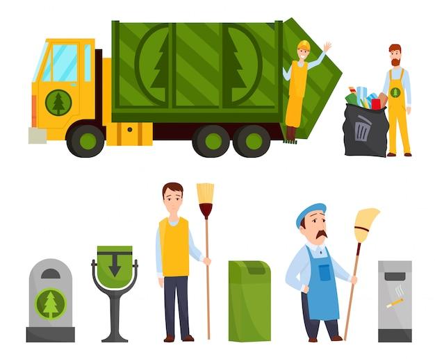 Recolección de basura. camión de basura, basura hombre en bolsa de basura uniforme papelera de reciclaje. ilustración del concepto de gestión de residuos.