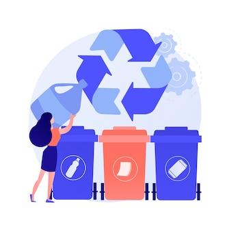 Recolección de basura y clasificación de la ilustración de vector de concepto abstracto. recolección de residuos domésticos, sistemas de eliminación local, segregación de residuos, vehículos de servicio en la acera urbana, metáfora abstracta.