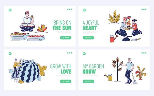 Recolección de concepto de cosecha. página de destino del sitio web.