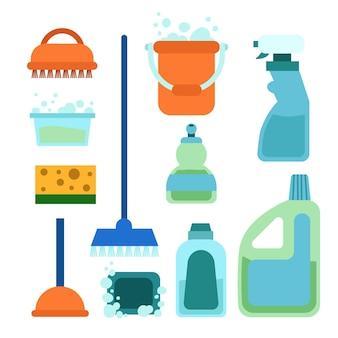 Recolección de equipos de limpieza de superficies.