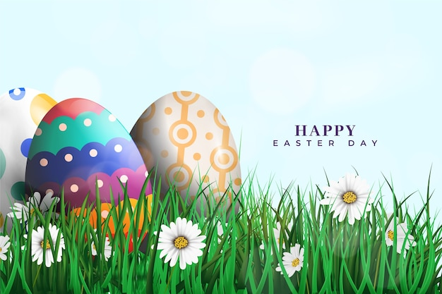 Recolección realista de huevos de pascua y pasto