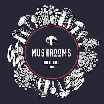 Recolección de setas del bosque otoñal, marco de menú vegano