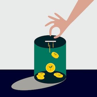 Recolectando dinero para ilustración de financiamiento ambiental