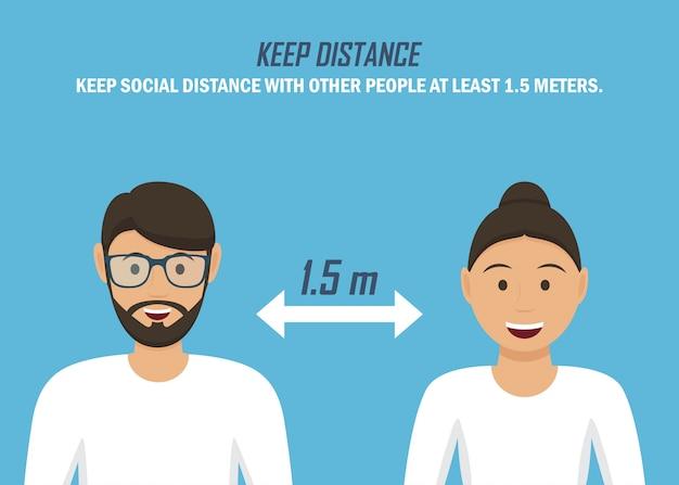 Recomendación durante una pandemia de coronavirus. mantén distancia. hombre y mujer en un diseño plano sobre un fondo azul.