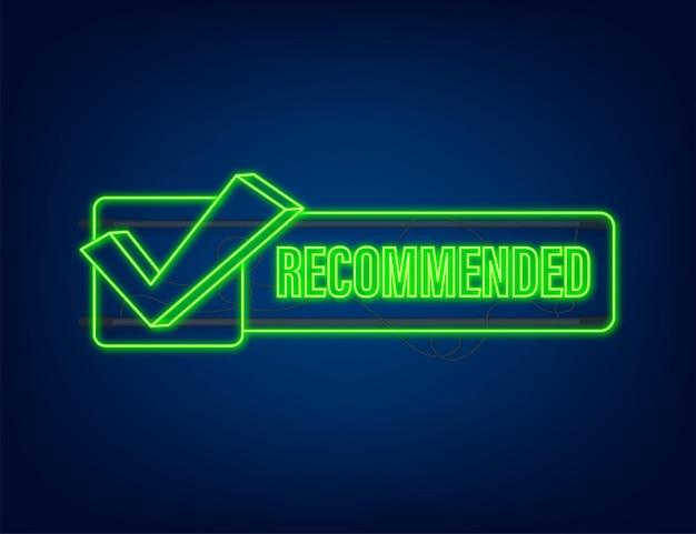 Recomendar icono. se recomienda etiqueta de neón sobre fondo azul oscuro. icono de neón. ilustración de stock vectorial.