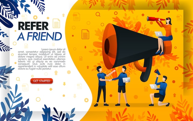 Recomienda una ilustración de amigo con un megáfono gigante para promoción