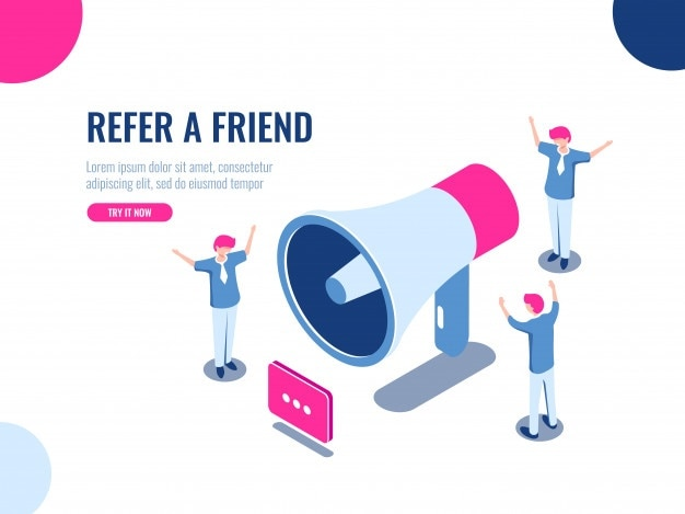 Recomiende a un amigo el icono isométrico, el equipo de personas en promoción, publicidad, trabajo en equipo y trabajo colectivo