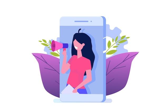 Recomiende a un amigo, marketing de redes de referencia. recomendar a un amigo. compartir código de referencia las mujeres gritan por megáfono.