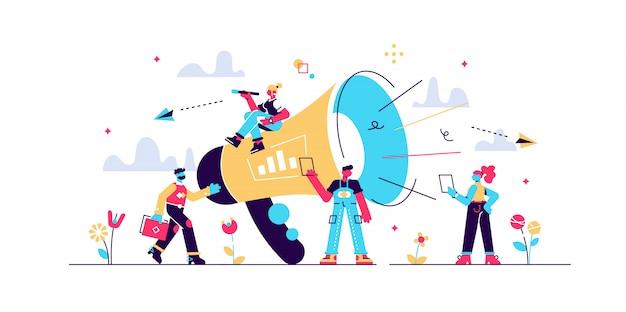 Recomiende a un amigo con megáfono grande y gente de pequeñas empresas, noticias, redes sociales, página de inicio, plantilla móvil, trabajo en equipo, redes sociales, ilustración.