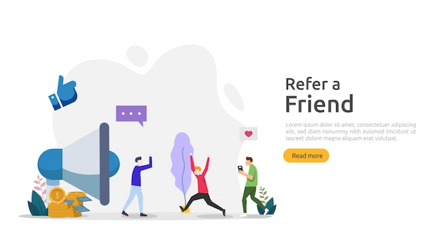 Recomiende una estrategia de amistad y un concepto de marketing de afiliación. personajes que comparten una asociación comercial de referencias y ganan dinero. plantilla para página de inicio web, pancarta, póster, medios impresos