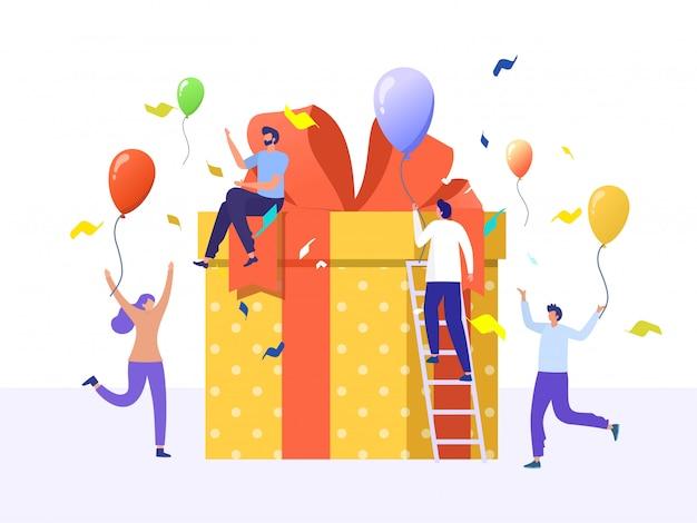 Recompensa en línea, grupo de personas felices recibe un concepto de ilustración de caja de regalo