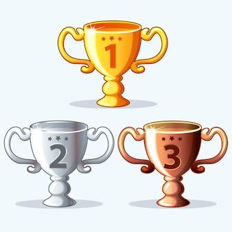 Recompensas coloridas, copa - oro, plata y bronce