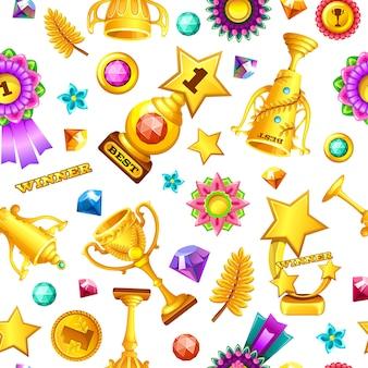 Recompensas de juegos de oro de dibujos animados de patrones sin fisuras.