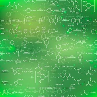 Recondita ecuaciones químicas y fórmulas sobre fondo verde borroso, patrones sin fisuras