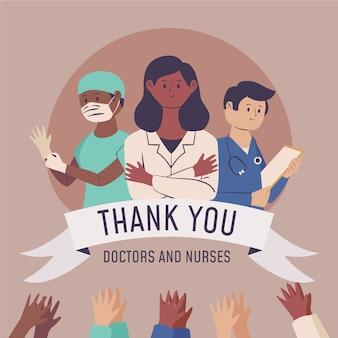 Reconocimiento de médicos y enfermeras.