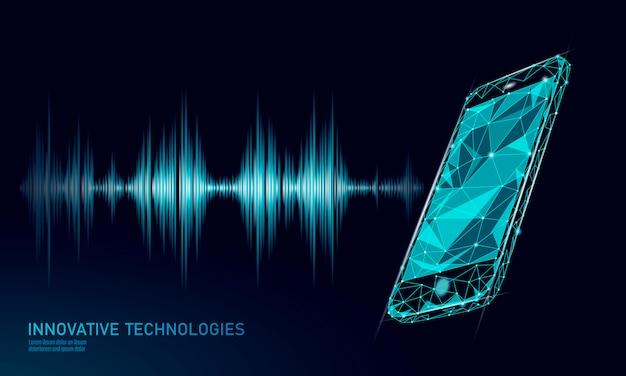 Reconocimiento de sonido asistente de voz bajo poli smartphone.