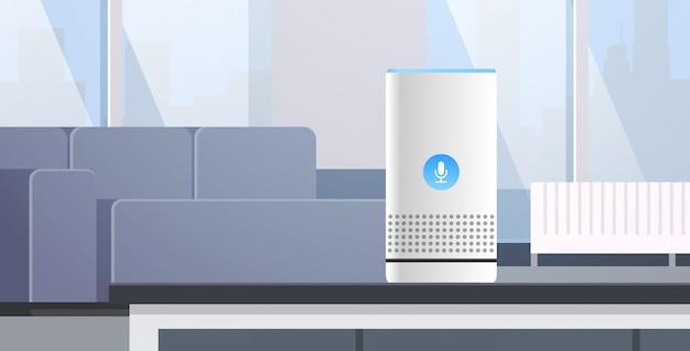 Reconocimiento de voz de altavoz inteligente inteligente activados asistentes digitales concepto de informe de comando automatizado sala de estar moderna ilustración de vector horizontal plana