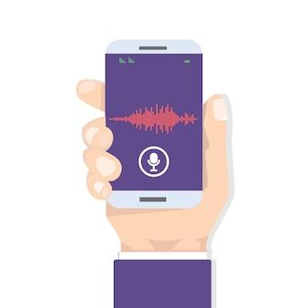 Reconocimiento de voz asistente personal en aplicación móvil. ilustración del concepto de dispositivo con icono de micrófono en la pantalla y líneas de imitación de voz y sonido.