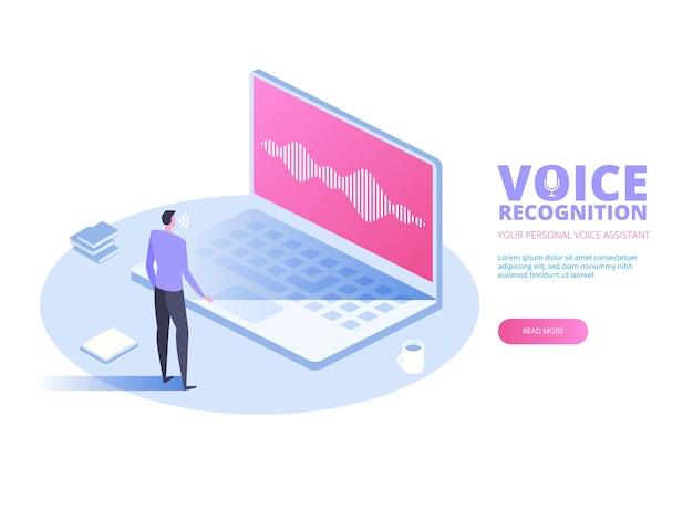 Reconocimiento de voz. concepto de tecnología de ondas sonoras de reconocimiento de asistente personal de voz inteligente.
