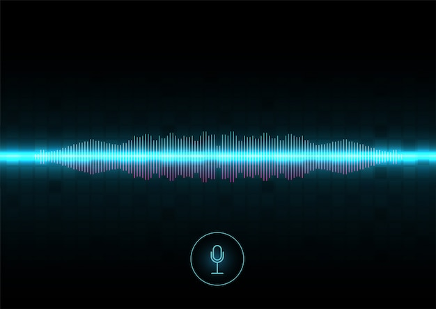 Reconocimiento de voz, ecualizador, grabador de audio. botón de micrófono con onda de sonido. símbolo de tecnología inteligente. voz auxiliar de ia de alta tecnología, flujo de onda de fondo, ecualizador.