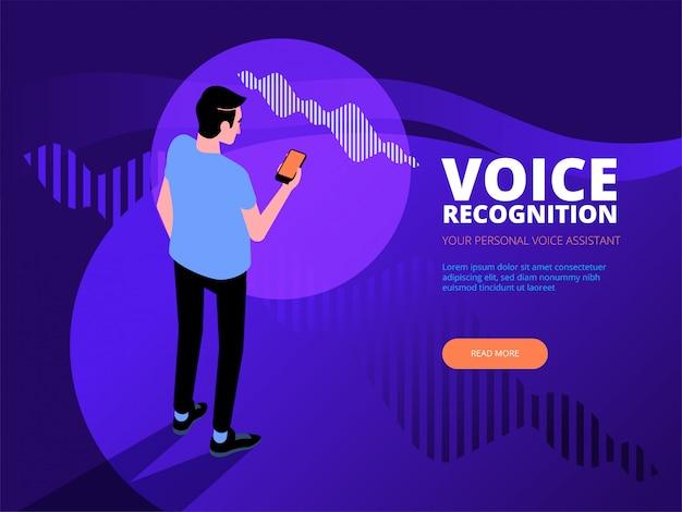 Reconocimiento de voz. voz inteligente reconocimiento de asistente personal concepto de tecnología de ondas de sonido. ilustración plana