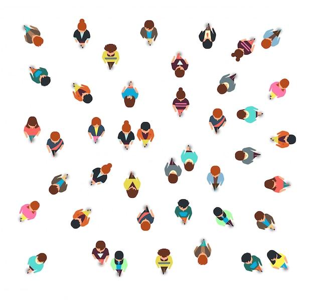 Recopilación de vista superior del grupo de personas, hombres y mujeres caminando, ilustración de vector de multitud social aislado