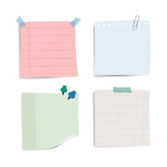 Recordatorio en blanco notas de papel conjunto de vectores