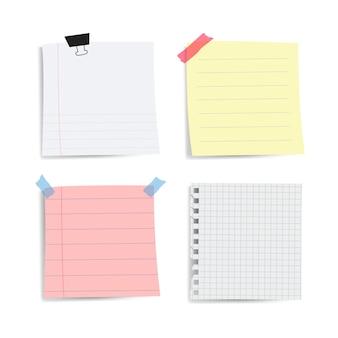Recordatorio en blanco papel conjunto de notas