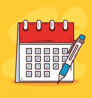 Recordatorio de calendario con lapiz