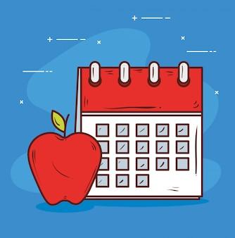 Recordatorio de calendario con manzanas