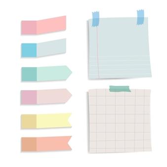 Recordatorio colorido notas conjunto de vectores