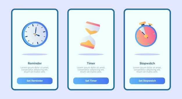 Recordatorio cronómetro para la interfaz de usuario de la página de banner de plantilla de aplicaciones móviles con tres variaciones de estilo moderno de color plano